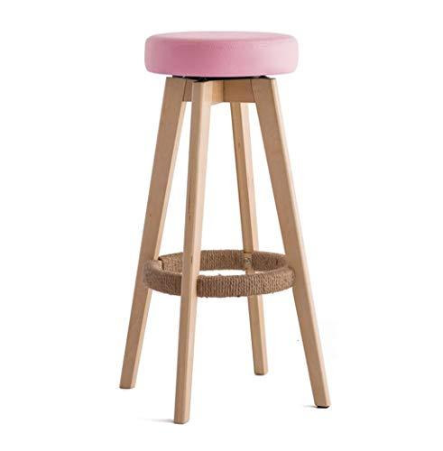 DZ 360 ° rotierender Barhocker aus Holz Sitzpolster aus Holz, Hanfseil Fußstütze (Farbe : Pink)