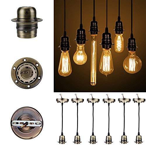 [GreenSun] 6x Vintage Hängelampenfassung E27 Edison Lampenfassung antike Deckenbeleuchtung Zubehör Metall Pendelleuchte Stecker im Retro-Look Kronleuchter Lampenfuss mit 1.35 Meter Kabel