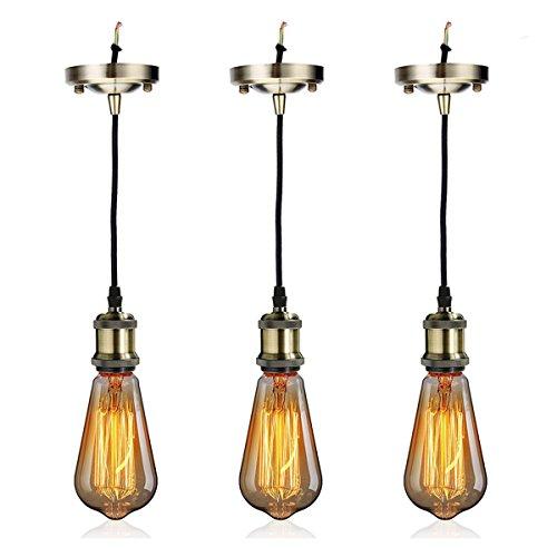 GreenSun LED Lighting 3 Set Retro E27 ST64 Edison Warmweiß Glühbirne mit E27 Lampenfassung Lampensockel E27 Fassung Halter + Kabel als Dekolampe Hängeleuchte Pendelleuchte Beleuchtung (Bronze)