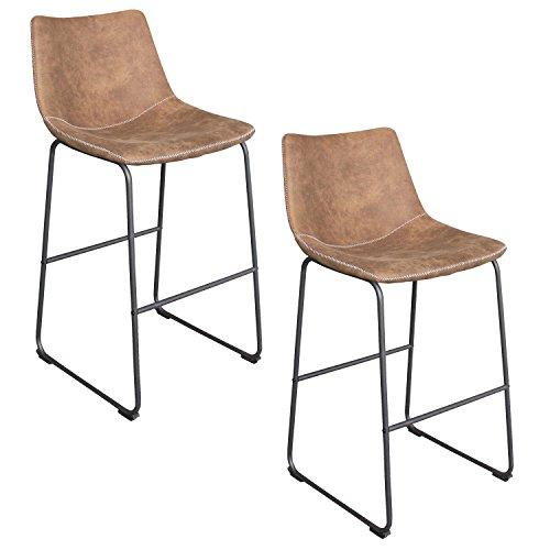 HEGNMEI 2er-Set Barhocker mit lehne Vintage Braun - Bequemer Tresenhocker Lounge Hocker Lederähnliche Stoffe Barstuhl Küchenstuhl Esszimmerstühle mit Eisengestel (Braun)