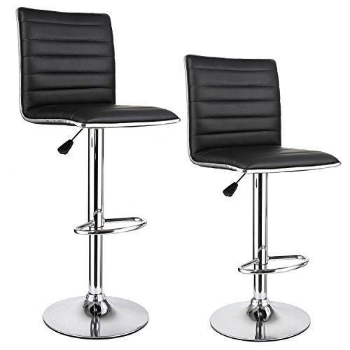 """HOMFA 2 Stk. Barhocker Barstühle """"klassig"""" Design drehbar höhenverstellbar Belastbar bis 160kg schwarz (Set 2)"""