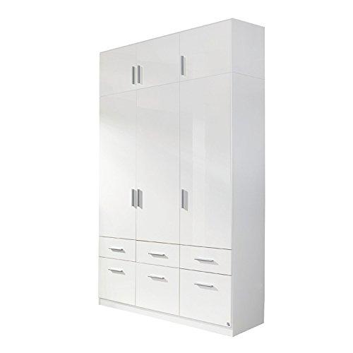 Kleiderschrank 3trg »CELLE« Hochglanz weiß mit Schrankaufsatz 249cm Höhe, 136 cm Breite, Schlafzimmer Kombischrank