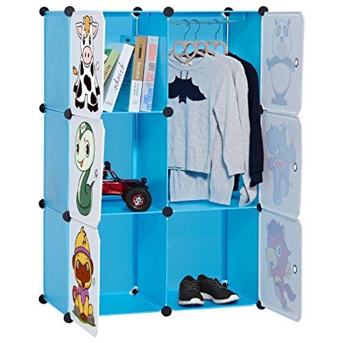 LANGRIA Regalsystem Kleiderschrank 6 Kubus Garderobenschrank Aufbewahrung Kleidung, Schuhe, Spielzeug und Bücher für Kinder Blau