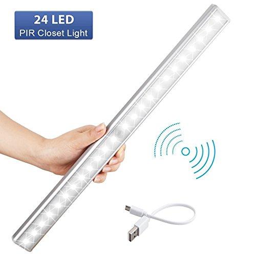 LED Schrankbeleuchtung,EMIUP USB LED Nachtlicht mit Bewegungsmelder,Auto ON/OFF 3 Modi für Kabinett,Kleiderschrank,Waschraum,Küche,Schlafzimmer,Schrank Lichter,Energieeffizient(24LED)