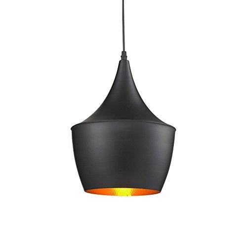 Lightess Moderne Industrie beleuchtung Metall Schatten Loft Pendelleuchte Retro-Deckenleuchte Vintage-Lampenschirme Retro Lampe Shade Loft Coffee Bar Küchenhänge pendelleuchte 40W (außen schwarz innen gold)
