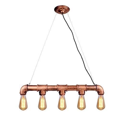 Linkax Industrielle Vintage LED Pendelleuchte Retro Rustic 5 Lichter Hängeleuchte Hängelampe Industrielle Deckenleuchte Vintage Wandleuchte E27 Lampensockel (ohne Birne)