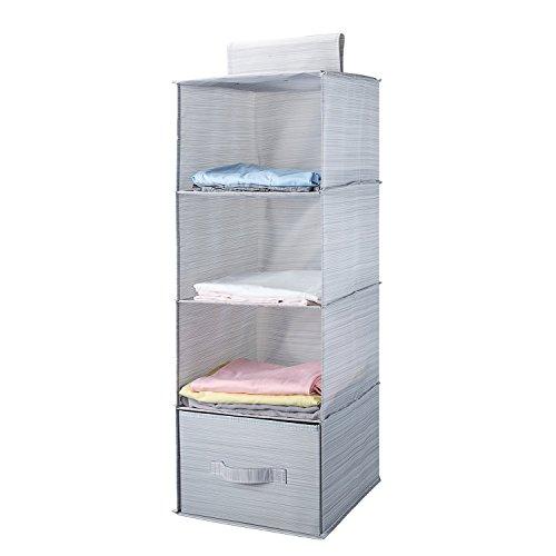 MEE'LIFE klappbar 4-Shelf Aufhängen Closet Organizer mit 1drawer dickem Karton Boards Innen Anzug für Kleidung Pullover Schuhe Aufbewahrung Kleiderschrank Abstellflächen Schuhregal (Hellgrau)