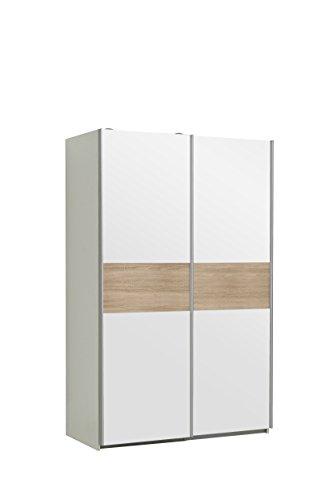 NEWFACE Ohio Kleiderschrank, Holzwerkstoff, Korpus in Weiß matt mit einer Front in Weiß und einer Bauchbinde in Weiß oder Sonoma Eiche Dekor, B*T*H: 120 x 61,2 x 190.50 cm