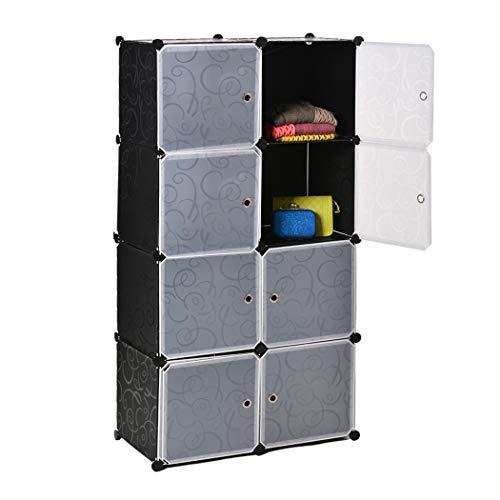 Nakey DIY Regalsystem Kleiderschrank Garderobenschrank Stufenregal Aufbewarhrung für Kleidung, Schuhe, Spielzeug und Bücher L72 x W36 x H144 cm, Schwarz