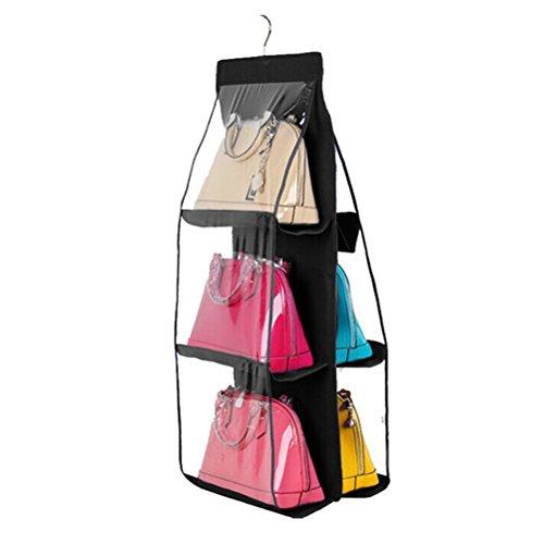 PIXNOR Falt Kleiderschrank Veranstalter Kleiderschrank Storage Bag Aufhängesystem für Handtasche (schwarz)
