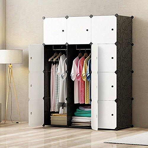 PREMAG DIY tragbarer Kleiderschrank, modularer Speicher-Organisator, Raumersparnis Armoire, tieferer Würfel mit hängendem Rod 12 Würfel