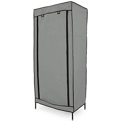 PrimeMatik - Garderobe Stoffschrank Faltschrank Kleiderschrank 70 x 45 x 155 cm grau mit Rolltor