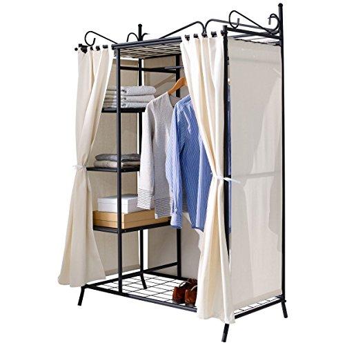PureDay Metall Kleiderschrank Garderobe Breezy – mit Kleiderstange und Ablageflächen für Kleidung & Schuhe - hochwertige Stoff-Verkleidung - 109 x 57 x 171 cm – Beige Schwarz