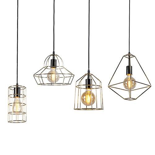 QAZQA Modern 4-flammiger-Set moderne Draht-Pendelleuchte/Pendellampe / Hängelampe/Lampe / Leuchten Gold/Messing - Retro Frame/Innenbeleuchtung / Wohnzimmer/Schlafzimmer / Küche Metall Rund L