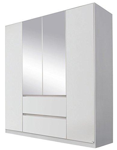 Rauch AA027.5210 Kleiderschrank Mainz 4-türig/mittig Spiegeltüren, griffloses Design/B 181 H 210 T 54 cm/Korpus/Fronten: Alpinweiss