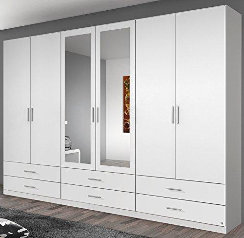 Rauch Kleiderschrank 6-türig, 2 Spiegeltüren, 6 Schubkästen, alpinweiß