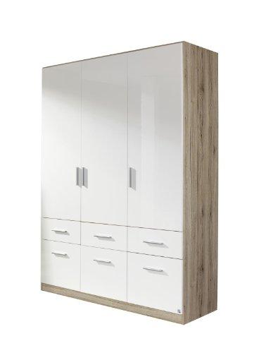 Rauch Kleiderschrank Weiß Hochglanz mit 6 Schubladen 3-türig, Korpus Eiche San Remo hell Nachbildung, BxHxT 136x197x54 cm