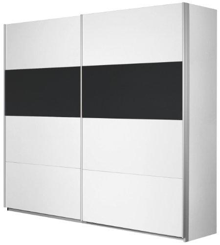 Rauch Schwebetürenschrank 2-türig Weiß Alpin, Glas Absetzung Schwarz, BxHxT 226x210x62 cm