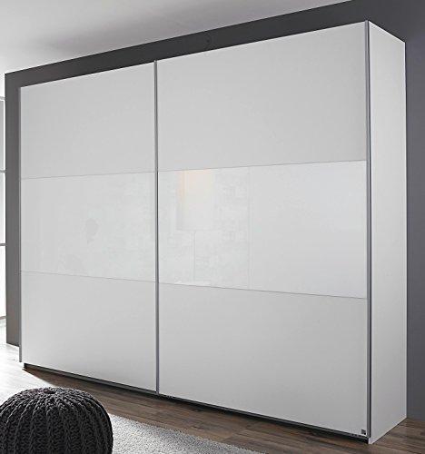 Rauch Schwebetürenschrank 2-türig alpinweiß/Glas weiß 175 x 210 x 59 cm