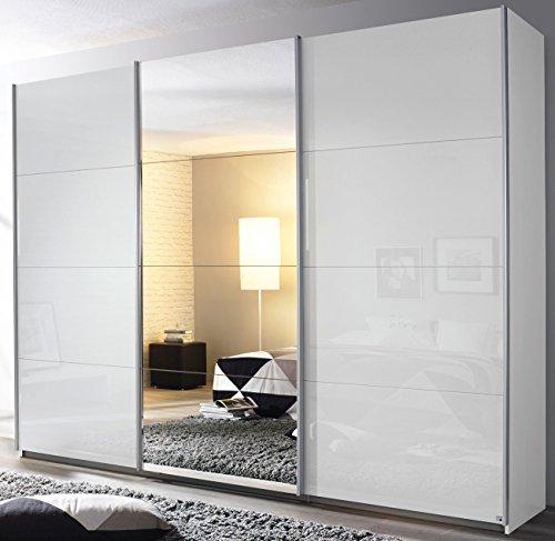 Rauch Schwebetürenschrank 3-türig Hochglanz weiß/Spiegel 271 x 211 x 62 cm