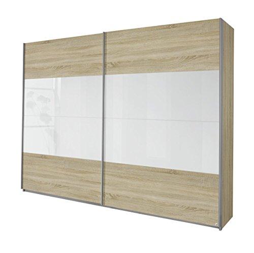Rauch Schwebetürenschrank Eiche Sonoma 2-türig, Glas Absetungen Weiß, BxHxT 181x230x62 cm