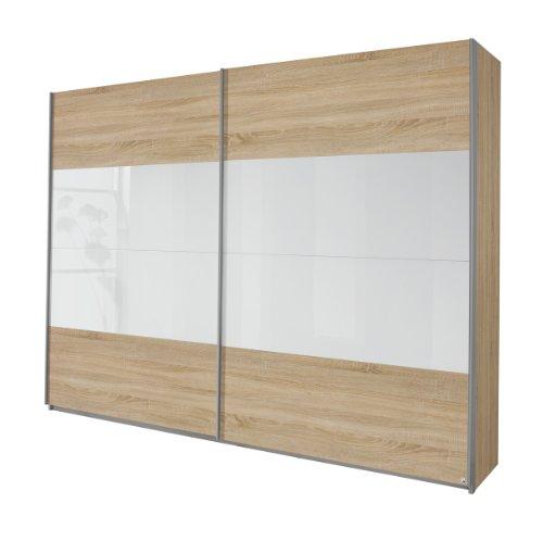 Rauch Schwebetürenschrank Kleiderschrank Eiche Sonoma 2-türig, Glaspaneele in Weiß, BxHxT 181x210x62 cm