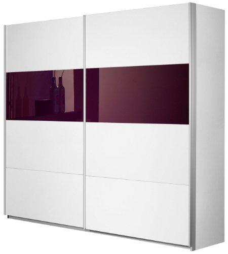 Rauch Schwebetürenschrank Weiß Alpin 2-türig, Glasabsetzungen Brombeer, BxHxT 270x210x62 cm