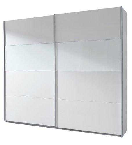 Rauch Schwebetürenschrank Weiß Alpin 2türig, Absetzung Glas Weiß, BxHxT 136x210x62cm