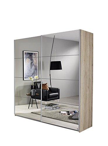 Rauch Schwebetürenschrank mit Spiegelfront 2-türig, Eiche San Remo Hell, BxHxT 136x197x61 cm