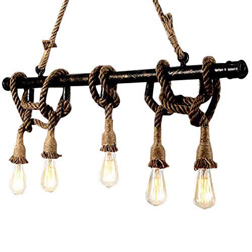 Ruanpu Leuchten retro Seil Pendelleuchte Pendellampe Hängeleuchte Hängelampe Industrielle Kronleuchte E27,5 Leuchtmittel,80 x 100 cm (HxB),für House Loft Wohnzimmer Café Shop Club