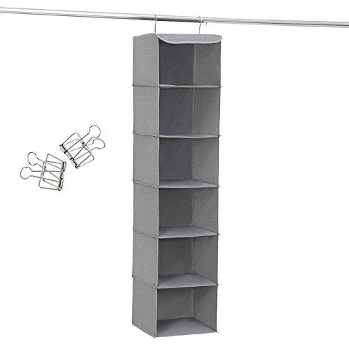 SONGMICS Hängeregal, Hängeaufbewahrung mit 6 Fächern, innen mit Metallrahmen, 2 Klammern gratis, für Kleiderschränke in unterschiedlichen Höhen, grau, 30 x 130 x 30 cm (B x H x T), RCH06G, Stoff