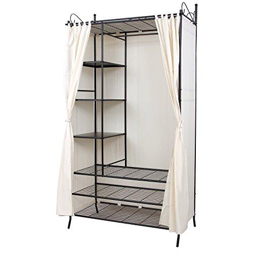 SONGMICS Metall Kleiderschrank Faltschrank Garderobenschrank mit Vorhang 210 x 108 x 58 cm RTG04H
