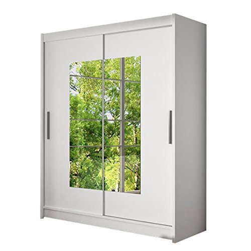 Schwebetürenschrank Westa III Kleiderschrank mit Spiegel, Modernes Schlafzimmerschrank, Schiebetürenschrank, Garderobe, Schlafzimmer (Weiß)