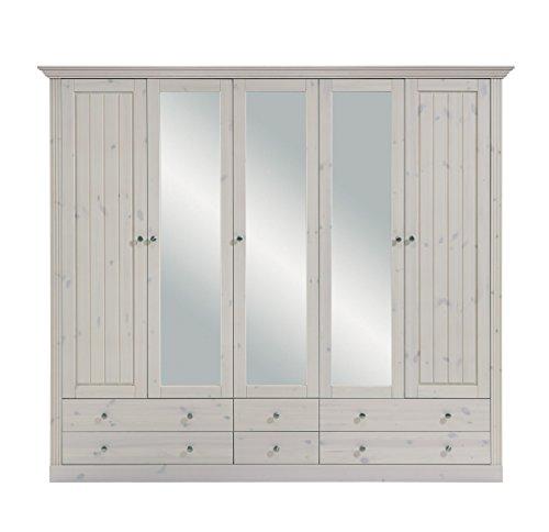 Steens Monaco Kleiderschrank, 5 Türen, 228 x 201 x 60 cm (B/H/T), Kiefer massiv, weiß