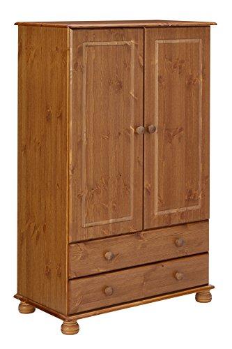 Steens Richmond Kleiderschrank/Wäscheschrank, 2 Türen, 2 Schubladen, 88 x 137 x 46 cm (B/H/T), Kiefer massiv, gelaugt lackiert
