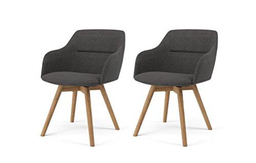 Tenzo 2er- Set Stühle, Holz,anthrazit, 57 x 53 x 77 cm