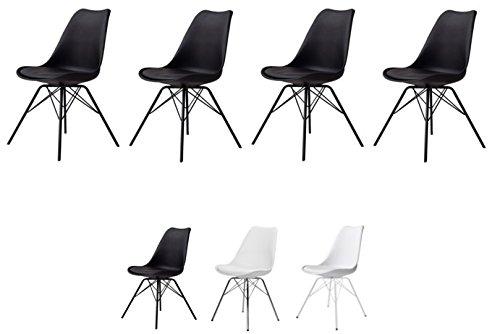 Tenzo 3336-024 4er-Set Porgy Designer Stühle, Metall, Schwarz, 82,5 x 48,5 x 54 cm (HxBxT), Kunststoffsitzschale mit Kunstledersitzkissen, Polypropylen