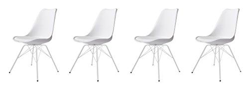 Tenzo 3336-801 Tequila 4er-Set Designer Stühle Porgy Plastik weiß / weiß, 54 x 48,5 x 82,5 cm