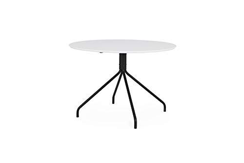 Tenzo 3705-910 EGO Designer Esstisch, 74,5 x Ø 110 cm (H x B x T), Weiss/Schwarz, Tischplatte aus MDF, HPL. Füsse aus lackiertem Stahl