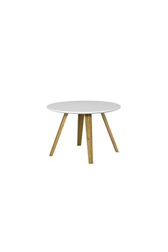 Tenzo Lola 3755-001 Couchtisch, 40 x Ø 60 (H x Ø), Platte aus 19 mm MDF, Weiss/Eiche, Lackiert