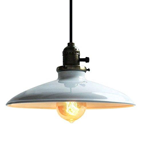 Unimall E27 Industrial Pendelleuchte Retro mit Schalter Hängelampe Rustikal Metall mit Weiß Schirm für Küche Esszimmer Keller Bar (ohnen Glühbirne)
