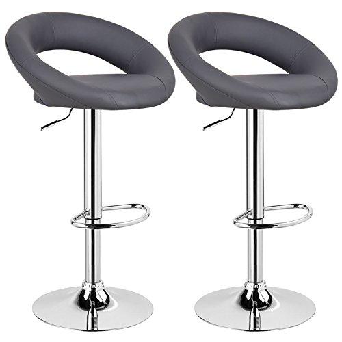 WOLTU Design 2 x Barhocker Tresenhocker mit Griff , 2er Set , stufenlose Höhenverstellung , verchromter Stahl , Antirutschgummi , pflegeleichter Kunstleder , gut gepolsterte Sitzfläche , Farbwahl (BS9165 Grau)