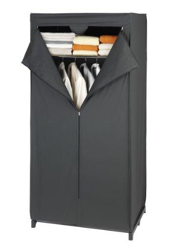Wenko 43821020100 Kleiderschrank Deep Black mit Ablage , Kunststoff - Peva, 75 x 160 x 50 cm, Schwarz