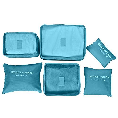 Xuxuou 6-teilig Kleidertaschen-Set Koffer-Organizer Aufbewahrungstasche Verpackungswürfel Kleidertasche Packtaschen für Reisen Nach Hause Kleiderschrank (Blau)
