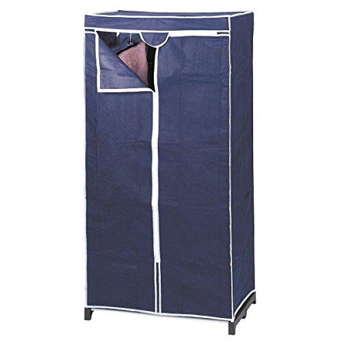 axentia Stoffschrank in Blau, Stahlrohrgestell mit Vliesstoff, Kleiderschrank mit Kleiderstange und Bodenplatte, Maße: ca. 75 x 50 x 150 cm