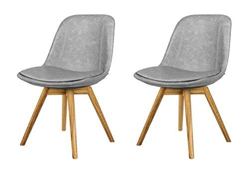 tenzo 2er- Set Stühle, Holz, Grau, 54 x 47 x 80 cm