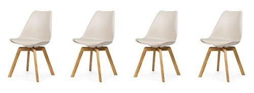 tenzo 3330-354 Tequila 4er-Set Designer Stühle Chloe, Plastik, warm grau/Eiche, 54 x 48 x 82 cm
