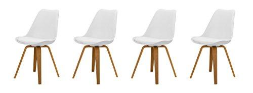 tenzo 3338-454 Tequila 4er-Set Designer Stühle Ella Plastik weiß/Eiche, 54 x 48 x 82 cm