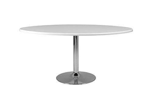tenzo Soft Designer Esstisch oval, Holz, weiß/Chrom, 110 x 160 x 74.5 cm