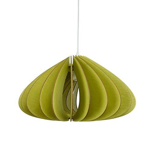 wodewa Pendelleuchte Holz I Moderne Deckenleuchte Luna Grün I Nachhaltige Deckenlampe Birkenholz I Holzlampe höhenverstellbar LED E27